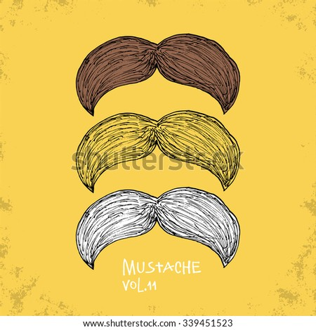 Cartoon Style Mustache Illustration - Vol. 11. - Hand Drawn Hipster Fashion Style Doodle Icon - Isolated Graphic Resource - Vector Illustration - stock vector