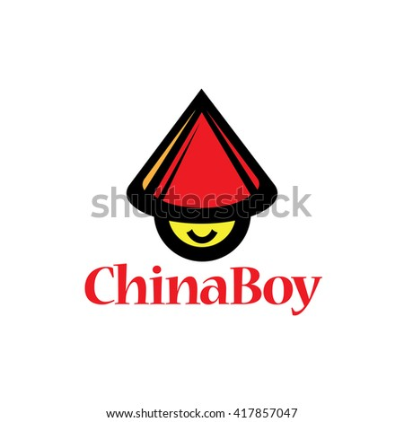 Cartoon style of Chinese Boy icon vector illustration on white isolated background  - stock vector