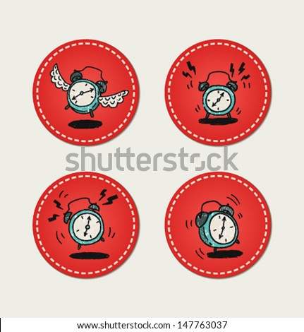 Cartoon style retro alarm clock icons - stock vector