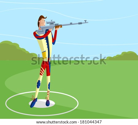 cartoon style shooter making aim with gun in vector - stock vector