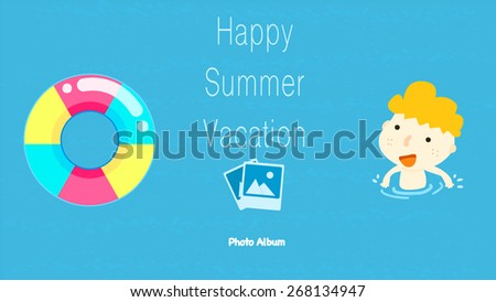 Cartoon style summer vacation photo album cover template/ little kid swimming  in the ocean and a colorful life buoy illustration/ memory of summer time adventure/ having fun in the water park - stock vector