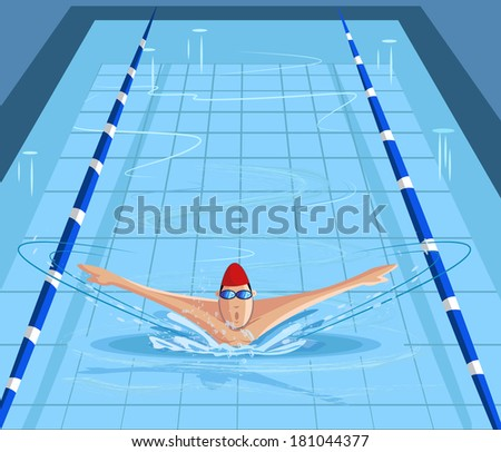 cartoon style swimmer swimming in pool in vector - stock vector