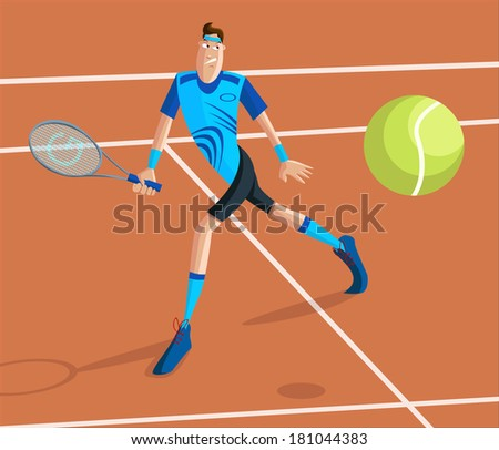 cartoon style tennis player in vector - stock vector