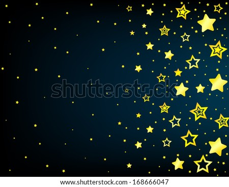 Cartoon style vector yellow stars background with copyspace left - stock vector