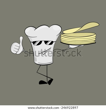 Cartoon stylized chef hat with human facial features holding stack of pancakes. Isolated on white background. Vector Illustration, eps 8. - stock vector