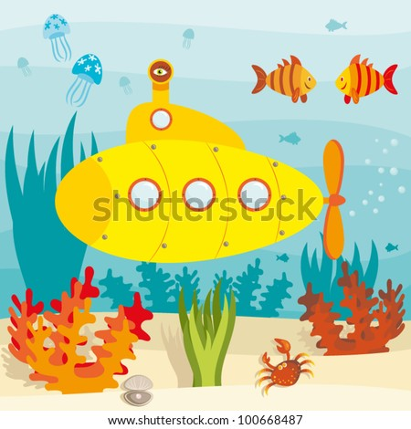 Cartoon submarine investigates the ocean - stock vector