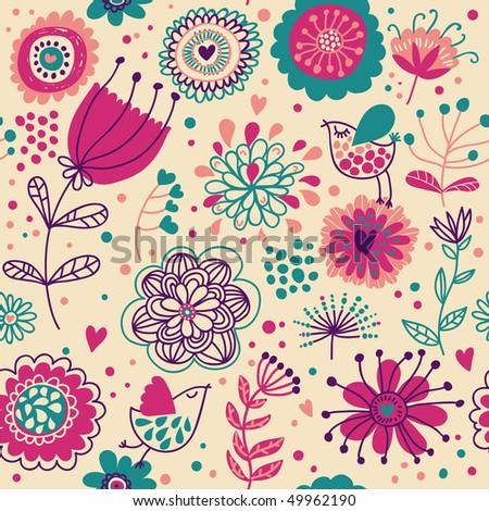 Cartoon summer floral seamless pattern with cute birds - stock vector