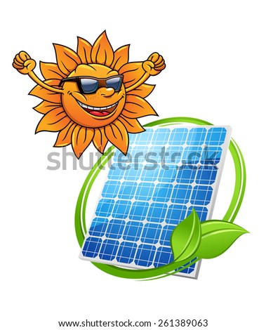 Cartoon sun with a happy smile wearing sunglasses with a photovoltaic cell with entwined greeen leaf for alternate eco-friendly solar energy - stock vector