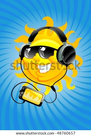 cartoon sun with headphone - stock vector