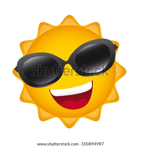cartoon sun with sunglasses isolated over white background. vector - stock vector