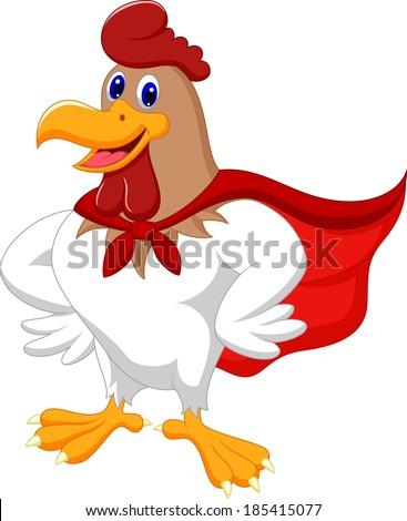 Cartoon super rooster posing - stock vector