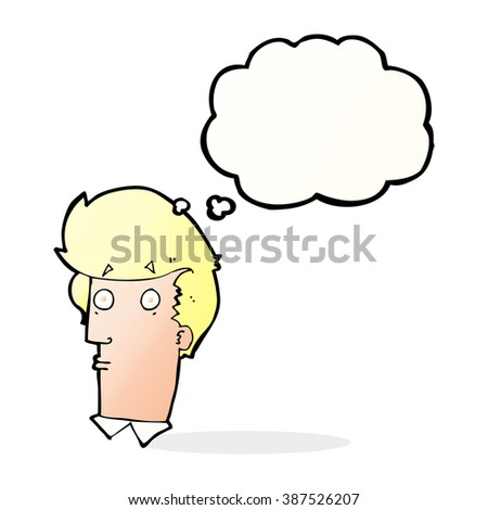 cartoon surprised expression with thought bubble - stock vector