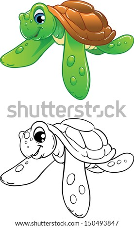 Cartoon swimming marine turtle, color illustration and black-and-white outline. Best for coloring book - stock vector