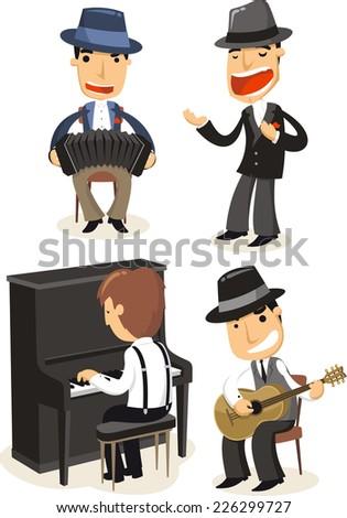 Cartoon Tango musicians playing instruments. - stock vector