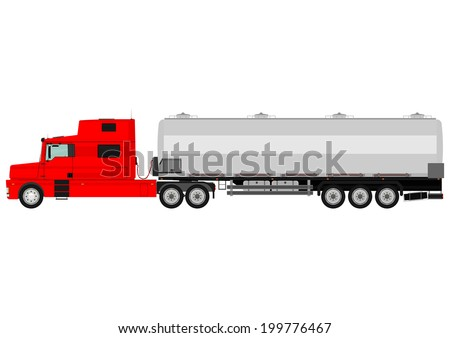 Cartoon tanker truck on a white background. Vector  - stock vector