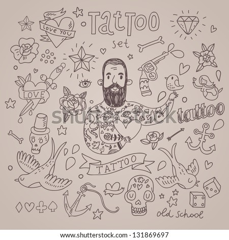 Cartoon tattoo vector set. Cute vintage collection of tattoo � heart, pigeon, anchor, diamond, flower, dice, pistol and others - stock vector