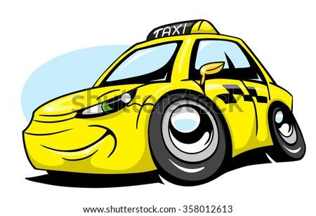 Cartoon taxi car - stock vector