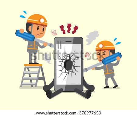 Cartoon technicians repairing smartphone broken smartphone - stock vector