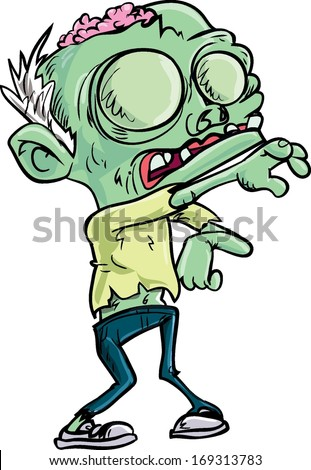Cartoon teen zombie with skinny jeans. Isolated on white - stock vector
