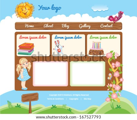 Cartoon template for kid web site - stock vector