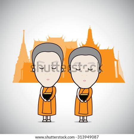 Cartoon Thai Monks receive food temple background, vector Illustration - stock vector