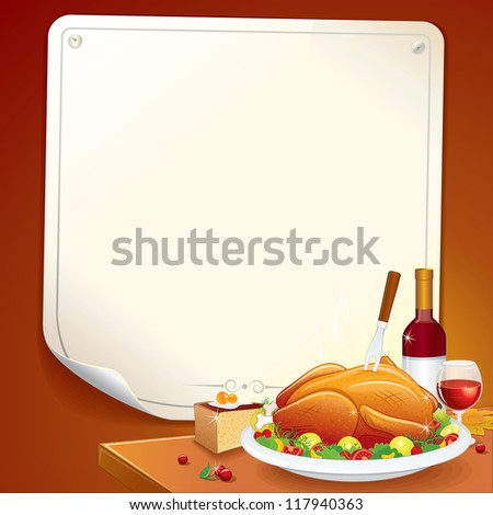 Cartoon Thanksgiving Background with Roasted Turkey, Pie and Wine - stock vector