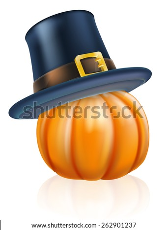 Cartoon thanksgiving pumpkin wearing a pilgrim or puritan flat topped hat on top - stock vector
