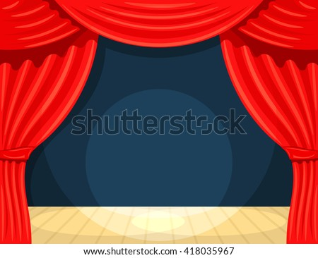 Cartoon theater. Theater curtain with spotlights beam. Open theater curtain. Red silk side scenes on stage. Stock vector - stock vector