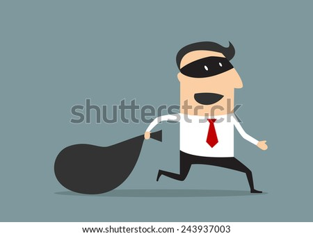 Cartoon thief businessman running with money bag, flat style - stock vector