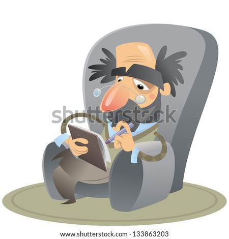 Cartoon thoughtful psychologist sitting on an arm chair keeping notes - stock vector