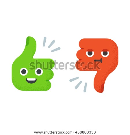 Cartoon Thumbs Up and Thumbs Down with cute funny faces. Flat vector illustration with vintage texture. - stock vector