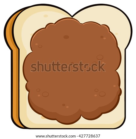 Cartoon Toast Bread Slice With Peanut Butter. Vector Illustration Isolated On White Background - stock vector