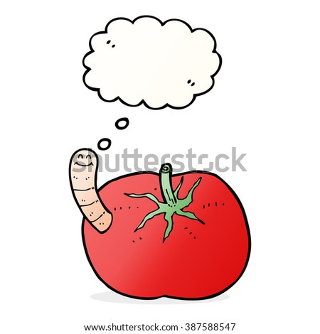 cartoon tomato with worm with thought bubble - stock vector