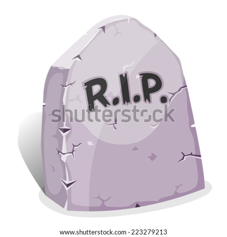 Cartoon Tombstone With RIP/ Illustration of a funny cartoon halloween tombstone for graveyard landscape with rest in peace inscription - stock vector