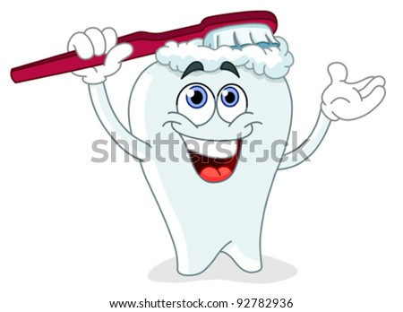 Cartoon tooth brushing itself - stock vector