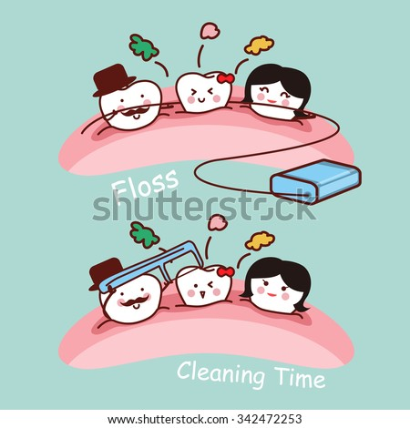 cartoon tooth family with dental floss, great for health dental care concept  - stock vector