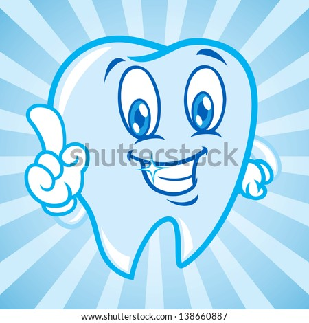 cartoon tooth with background - stock vector