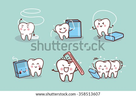 cartoon tooth with dental floss, great for health dental care concept - stock vector
