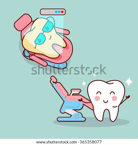 cartoon tooth with whitening and bleaching tool,  great for dental care and teeth whitening and bleaching concept - stock vector