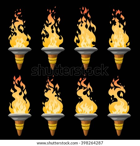 Cartoon torch with fire animation. Vector illustration for 2d games. - stock vector