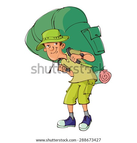 Cartoon tourist with large backpack - stock vector