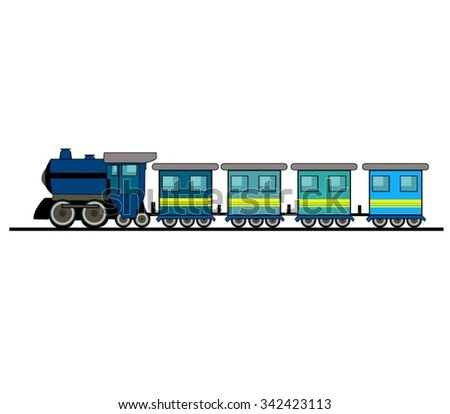 Cartoon Train Isolated On White - stock vector