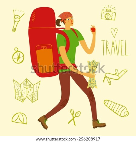 Cartoon traveler girl with a large backpack and doodle drawings including map, flashlight, camera, knife, sleeping bag, tent, compass. Backpacker illustration  - stock vector