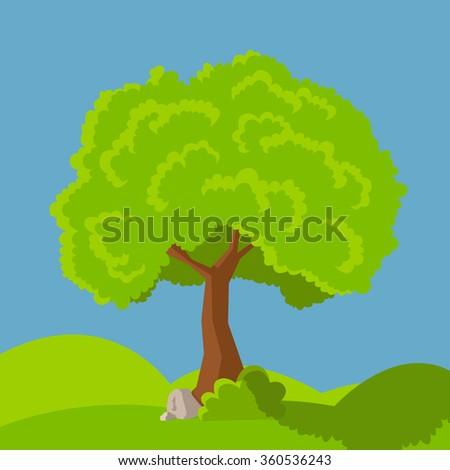 cartoon tree green. Vector concept  tree. - stock vector