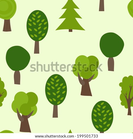Cartoon Tree Seamless Pattern. Summer Vector Background. Forest Texture - stock vector