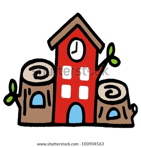cartoon treehouse - stock vector
