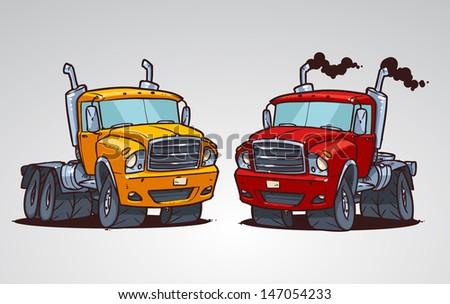 cartoon truck - stock vector