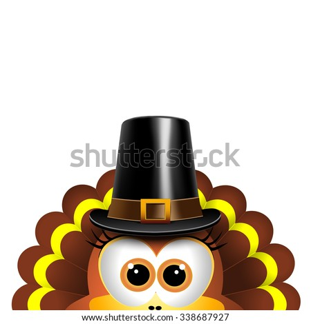 Cartoon turkey in a pilgrim hat. Card for Thanksgiving Day - stock vector