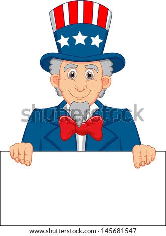 Cartoon Uncle Sam holding blank sign - stock vector