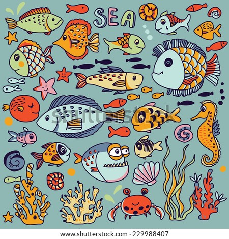 Cartoon underwater icons set with crab, fishes, seahorse, corals and other marine elements. Seamless pattern can be used for wallpapers, web page backgrounds. - stock vector